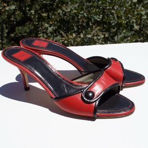 Coach Clare Red Black Leather Kitten Heels 8.5
